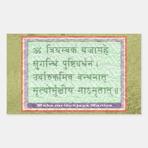 Verde esmeralda - mantra de Maha Mritunjaya Rectangular Pegatina