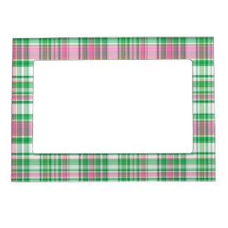 Verde esmeralda, rosa fuerte, tela escocesa de muy marcos magnéticos