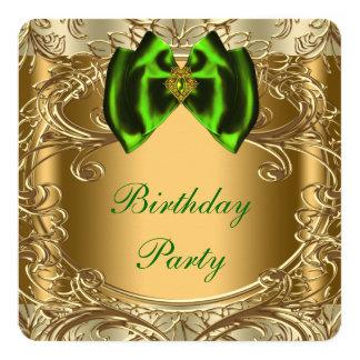 Verde esmeralda y fiesta de cumpleaños del oro invitación 13,3 cm x 13,3cm