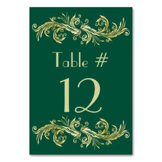 Verde esmeralda y número dorado de la tabla del bo