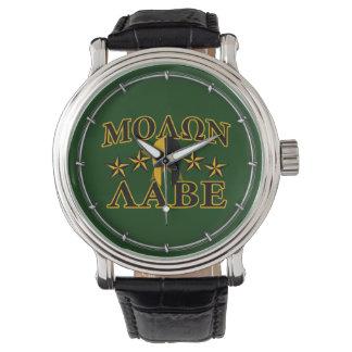 Verde espartano de las estrellas del guerrero 5 de reloj
