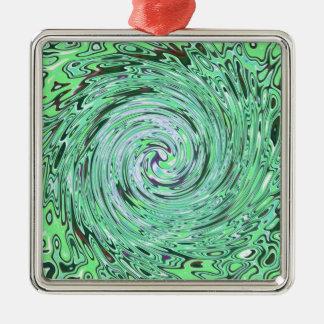 Verde especialmente adorno cuadrado plateado