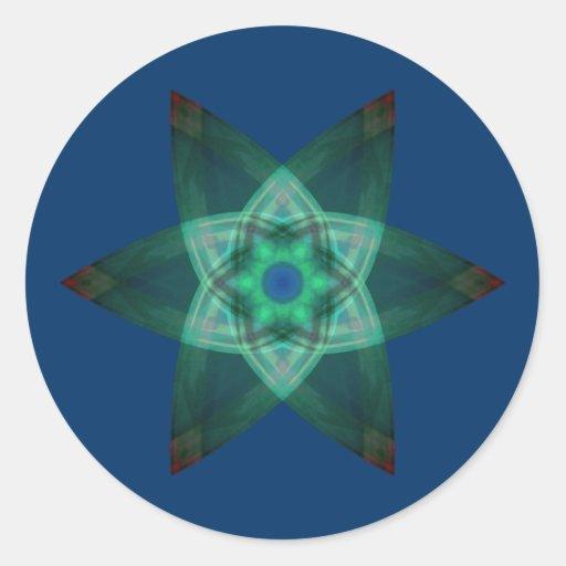 Verde estelar pegatina redonda