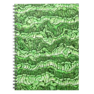 verde extranjero de la piel libreta espiral