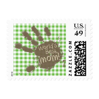 Verde fangoso divertido de la impresión de la mano sello