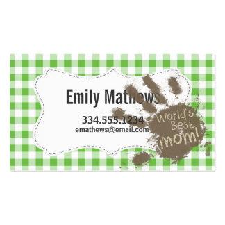 Verde fangoso divertido de la impresión de la mano tarjetas de visita