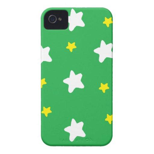 Verde feliz de las estrellas iPhone 4 Case-Mate cárcasa