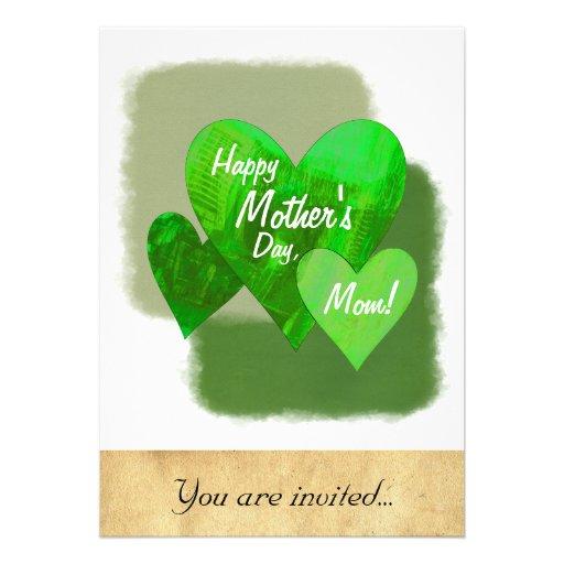 Verde feliz de los corazones del día de madre tres