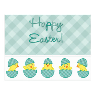 Verde feliz de los polluelos de Pascua Tarjeta Postal