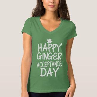 Verde feliz del día de la aceptación del jengibre polera