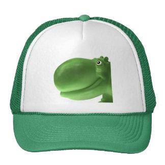 Verde feliz del hipopótamo gorras de camionero