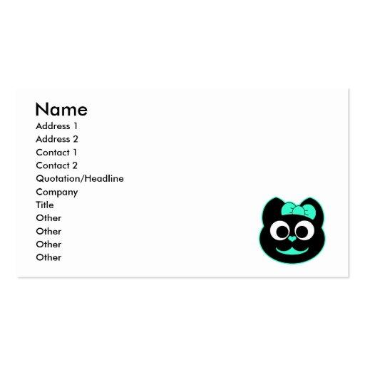 Verde femenino del gato del gatito tarjeta personal