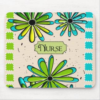 Verde floral artsy y azul de la enfermera alfombrilla de ratones