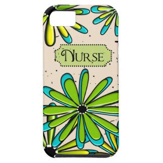 Verde floral artsy y azul de la enfermera iPhone 5 carcasa