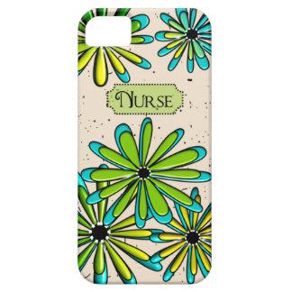 Verde floral artsy y azul de la enfermera iPhone 5 carcasas