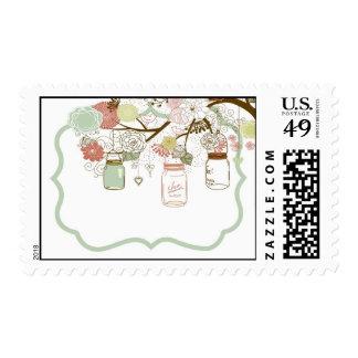 Verde floral de 20 de los sellos de la primavera t