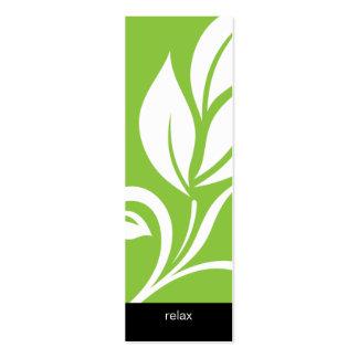 Verde floral de la flor de la hoja intrépida del b tarjeta de visita