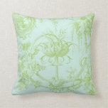 Verde floral, de la hoja elegante y aguamarina cojin