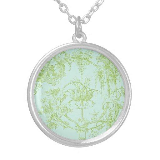 Verde floral, de la hoja elegante y aguamarina grimpola personalizada