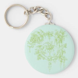 Verde floral, de la hoja elegante y aguamarina llavero