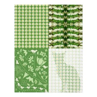 Verde floral de los gatos del papel de lino del fi membrete a diseño