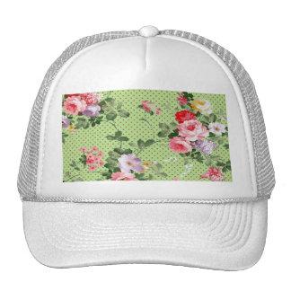 verde floral del lunar de los rosas del vintage he gorro de camionero