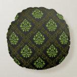 Verde floral del papel pintado cojín redondo