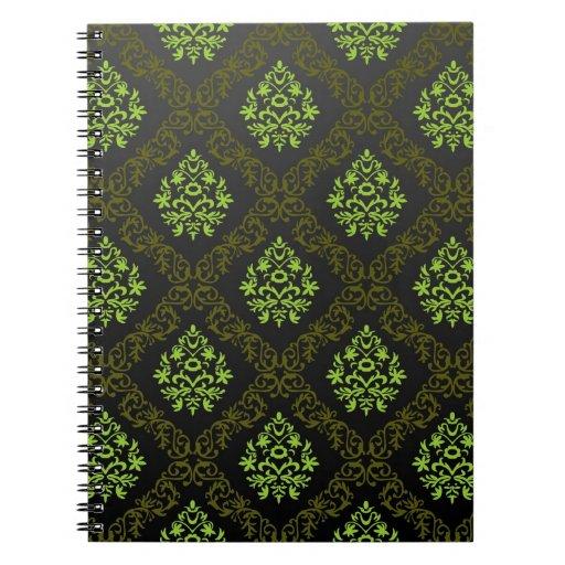 Verde floral del papel pintado cuaderno