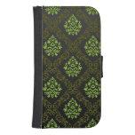 Verde floral del papel pintado billeteras para teléfono
