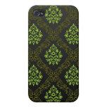 Verde floral del papel pintado iPhone 4/4S carcasas