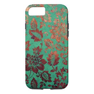 Verde floral del vintage y caja anaranjada del funda iPhone 7