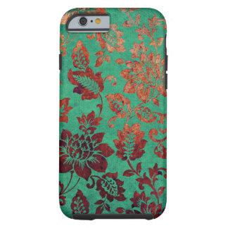 Verde floral del vintage y caja anaranjada del funda resistente iPhone 6