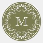 Verde floral personalizado de los pegatinas del pegatina redonda