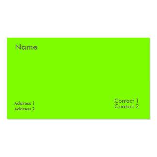 verde fluorescente tarjetas de visita
