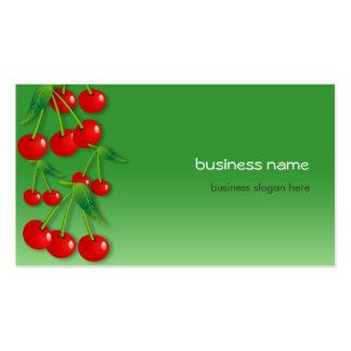 Verde fresco de la cereza tarjetas de visita
