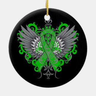 Verde fresco de las alas del cáncer del riñón adorno redondo de cerámica