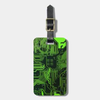 Verde fresco del ordenador de placa de circuito etiquetas maletas