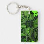 Verde fresco del ordenador de placa de circuito llavero