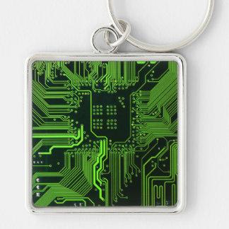 Verde fresco del ordenador de placa de circuito llavero cuadrado plateado