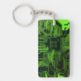 Verde fresco del ordenador de placa de circuito llavero rectangular acrílico a doble cara