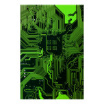 Verde fresco del ordenador de placa de circuito posters
