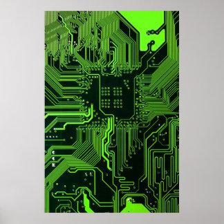 Verde fresco del ordenador de placa de circuito póster