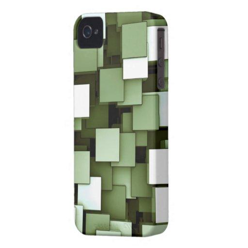 Verde futurista abstracto de los cubos iPhone 4 cárcasa