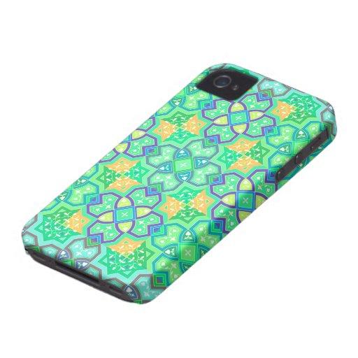 Verde geométrico colorido del ~ iPhone 4 carcasas