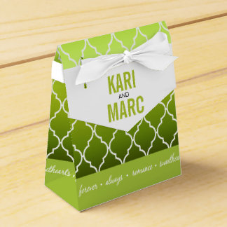 Verde geométrico de la primavera del favor el | de caja para regalos de fiestas