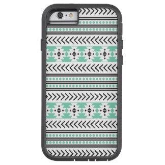 Verde geométrico del modelo de la impresión tribal funda de iPhone 6 tough xtreme
