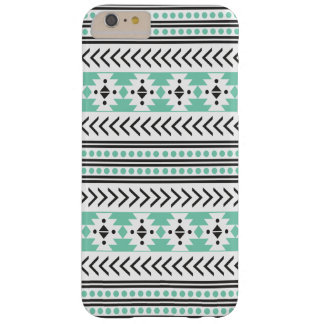 Verde geométrico del modelo de la impresión tribal funda de iPhone 6 plus barely there