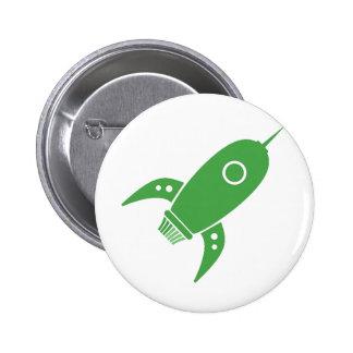 Verde gordo de la nave de Rocket retro Pins