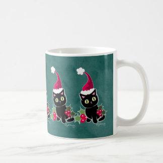 Verde gótico del gato del navidad taza