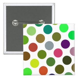 Verde grande y puntos de Brown Pin Cuadrado